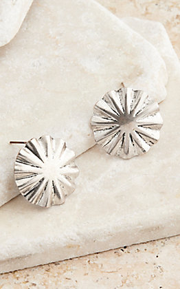 West & Co. Burnished Silver Burst Concho Stud Earrings