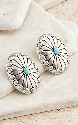 West & Co. Burnished Silver Concho Stud Turquoise Earrings
