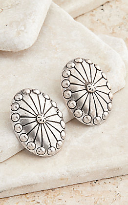 West & Co. Burnished Silver Concho Stud Earrings