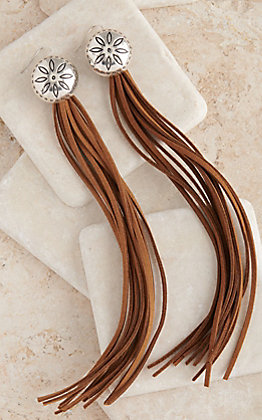 West & Co. Silver Flower Concho with Long Brown Leather Tassels Earrings