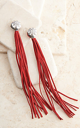 West & Co. Silver Flower Concho with Long Red Leather Tassels Earrings