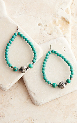 West & Co Turquoise and Silver Beaded Teardrop Earrings