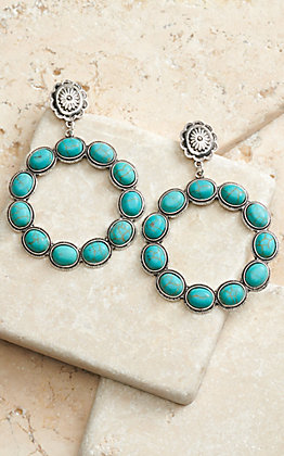 West & Co Silver Concho Post with Turquoise Stones Open Circle Dangle Earrings