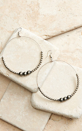 West & Co Silver Wire with Mini Navajo Beads Hoop Earrings