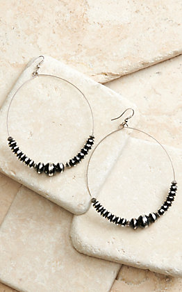 West & Co Silver Wire with Silver and Black Beads Hoop Earrings