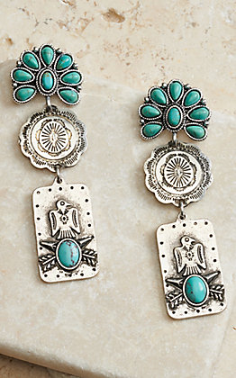 West & Co Silver Flower Concho with Turquoise Stones and Thunderbird Pendant Dangle Earrings