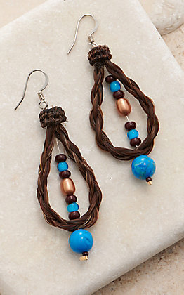 Cowboy Collectibles Brown Horse Hair Beaded Pearl Loop Earrings