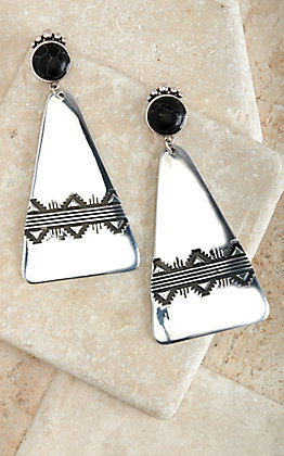 West & Co Silver Aztec Stamped with Black Stone Earrings