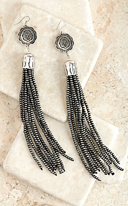 West & Co. Silver Concho with Mini Faux Navajo Pearls Tassel Earrings