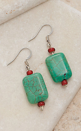 Cowboy Collectibles Red & Turquoise Stone Dangle Earrings