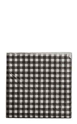 Park Hill Black & White Gingham Check Paper Beverage Napkins - 20 Count