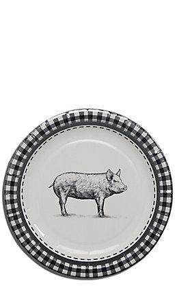 Park Hill Black & White Pig Paper Salad & Dessert Plates - 8 Count