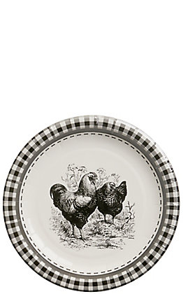 Park Hill Black & White Rooster Paper Salad & Dessert Plates - 8 Count