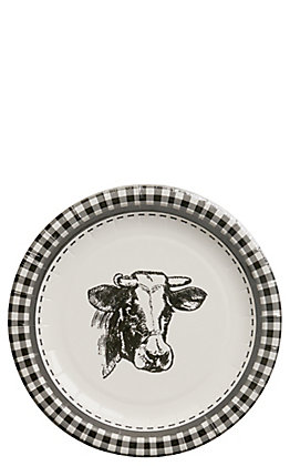 Park Hill Black & White Cow Paper Salad & Dessert Plates - 8 Count