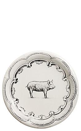 Park Hill Black & White Pig Paper Dinner Plates - 8 Count