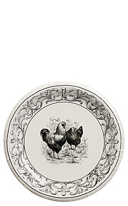 Park Hill Black & White Rooster Paper Dinner Plates - 8 Count