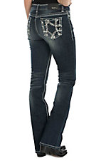 Grace in LA Women's Dark Wash with Gold, Blue, and White Thick Stitch Embroidery Open Back Pocket Boot Cut Jeans