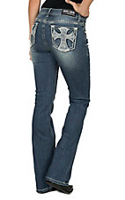 Grace in LA Women's Medium Wash Straight Crystal Cross Open Pocket Boot Cut Jeans