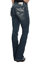 Grace in LA Women's Distressed Patch Open Pocket Boot Cut Jeans