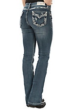 Grace in LA Women's Medium Wash Faux Flap Stitched Edge Pocket Easy Fit Boot Cut Jeans