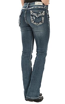 Grace in LA Women's Medium Wash Faux Flap Stitched Edge Pocket Easy Fit Boot Cut Jeans