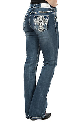 Grace in LA Women's Cross Open Pocket Boot Cut Jeans