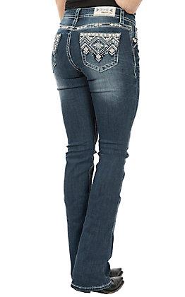 Grace in LA Women's Dark Wash with Zig Zag Diamond Pocket Easy Fit Boot Cut Jeans