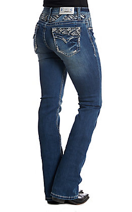 Grace in LA Women's Diamond Faux Pocket Medium Wash Boot Cut Jean