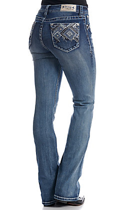 Grace in LA Women's Dark Wash With Bling And Embroidery Easy Fit Boot Cut Jeans