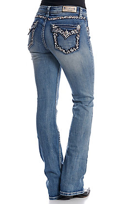 Grace in LA Women's Embroidery Open Button Flap Easy Fit Boot Cut Jeans