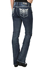 Grace in LA Women's Dark Wash with Silver Aztec Embroidery Open Pocket Boot Cut Jeans