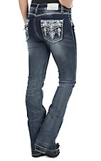 Grace in LA Women's Faded Dark Wash with Pyramid Print Embroidery Open Pocket Easy Fit Boot Cut Jeans