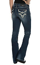 Grace in LA Women's Dark Wash with White  Leather and Embroidery Flap Pocket Easy Fit Boot Cut Jeans