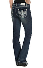 Grace in LA Women's Dark Wash with Studded Silver Swirl Embroidery Open Pocket Boot Cut Jeans