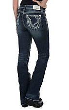 Grace in LA WOmen's Dark Wash with Silver Embroidered Details Open Pocket Boot Cut Jeans