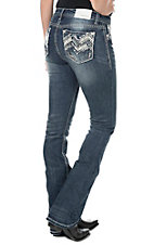 Grace in LA Women's Faded Dark wash with Blue Aztec Embroidery Open Pocket Easy Fit Boot Cut Jeans