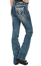 Grace in LA Women's Medium Wash Aztec Pocket Easy Fit Boot Cut Jeans