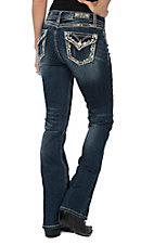 Grace in LA Women's Dark Wash Sequin Flap Pocket Easy Fit Boot Cut Jeans