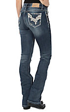 Grace in LA Women's Dark Wash Heavy Stitch Swoop Boot Cut Jeans
