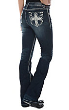 Grace in LA Women's Cross Pocket Easy Fit Boot Cut Jeans