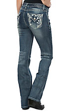 Grace in LA Women's Medium Wash Floral Swirl Easy Fit Boot Cut Jeans