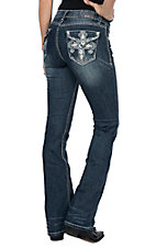 Grace in LA Women's Cross Flap Easy Fit Boot Cut Jeans
