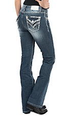 Grace in LA Women's Medium Wash X Stitch Pocket Easy Fit Boot Cut Jeans