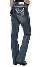 Grace in LA Women's Medium Dark Wash Embroidered Zigzag Open Pocket Easy Fit Boot Cut Jeans