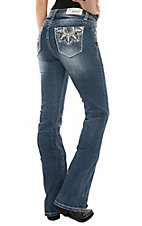 Grace in LA Women's Medium Wash Flower Embroidered Easy Fit Boot Cut Jeans