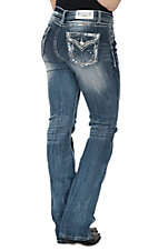 Grace in LA Women's Medium Wash Distressed Edge Stitching Open Flap Pocket Boot Cut Jeans