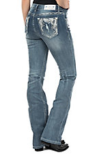 Grace in LA Women's Medium Wash Feather Pocket Easy Fit Boot Cut Jeans