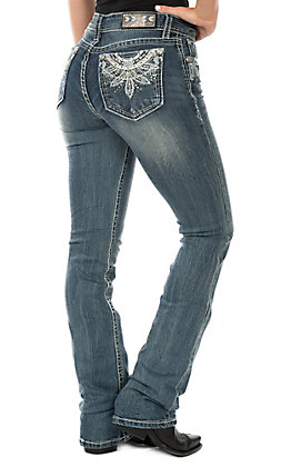 Grace in LA Women's Medium Wash Bling Geo Pocket Easy Fit Boot Cut Jeans