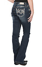 Grace in LA Women's Dark Wash Zig Zag Embroidered w/ Gold Stitching Pocket Easy Fit Boot Cut Jeans