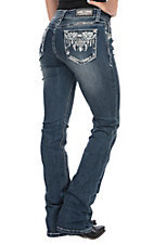 Grace in LA Women's Bling Aztec Embroidery Easy Fit Boot Cut Jeans
